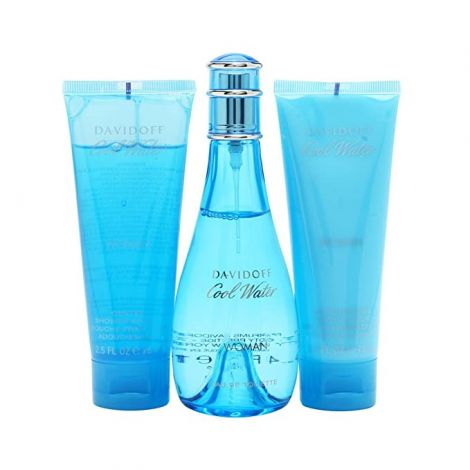 Davidoff Cool Water W 3 Pc Set 100 ml EDT Spray + 75 ml Shower Breeze +75 ml Body Lotion