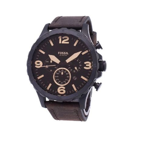 Fossil Men's Nate Brown Leather Strap Watch 50mm