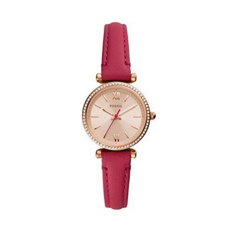 Fossil Women's Carlie Mini Crystal Leather Strap Watch, 28mm