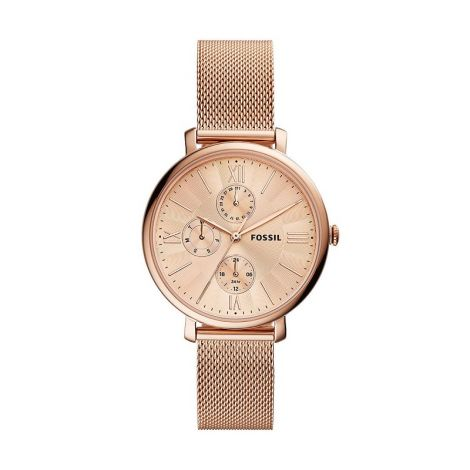 Fossil Jacqueline Multifunction Rose Gold-Tone Stainless Steel Mesh Watch