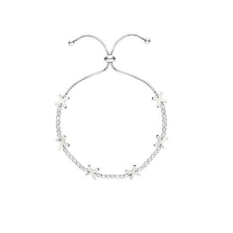 Buckley London Hugs & Kisses Bracelet- X -Silver
